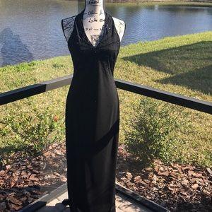 Niki Livas black beaded halter gown